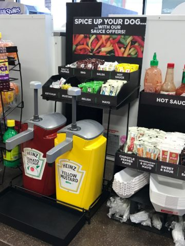 Condiment racks for convenience stores