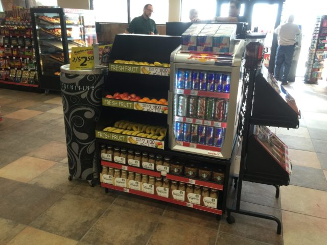 Energy drink retail display & fruit sales fixture