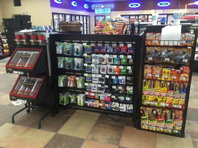 Custom beef jerky displays with gift card rack