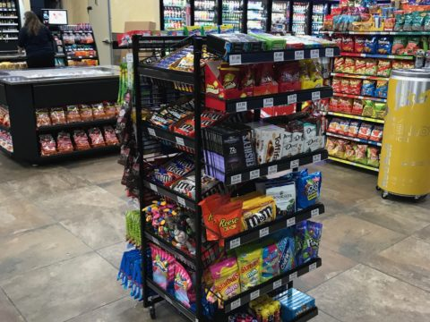 Rolling 4 way Island Candy Rack with shelves