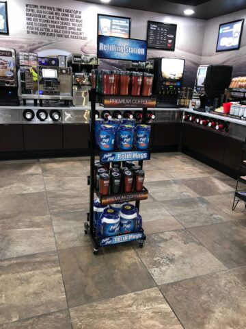 Floor standing refill mug rack