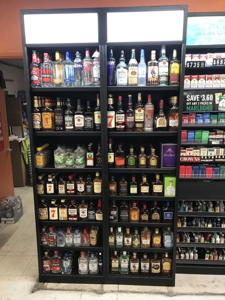 Liquor sales display cabinets